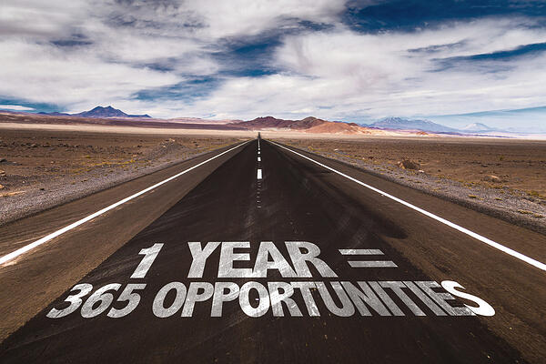 1 Year = 365 Opportunities written on desert road