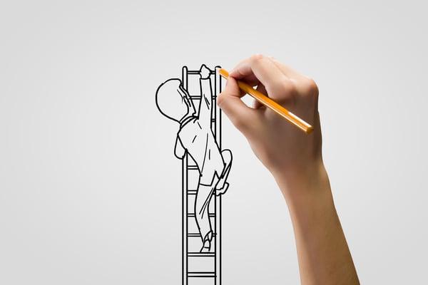 Human hand drawing caricature of man climbing ladder